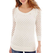 Stylus™ 3/4-Sleeve Pointelle Sweater