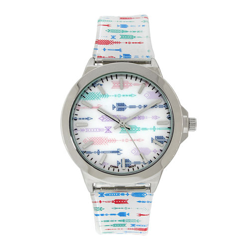 Womens Silver-Tone Arrow Printed Strap Watch