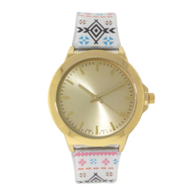 jcpenney.com | Womens Gold-Tone Tribal Print Strap Watch