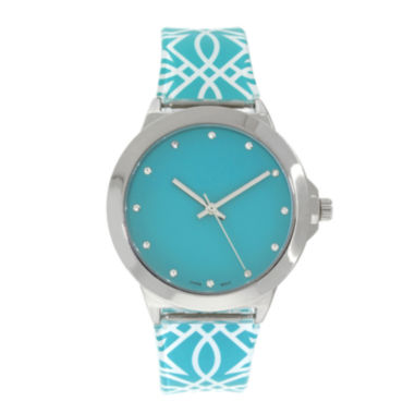 jcpenney.com | Womens Silver-Tone Print Strap Watch