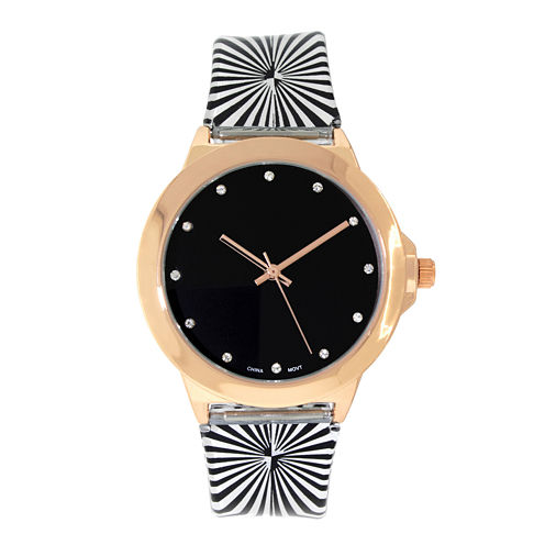 Womens Rose Gold-Tone Stripe Strap Watch