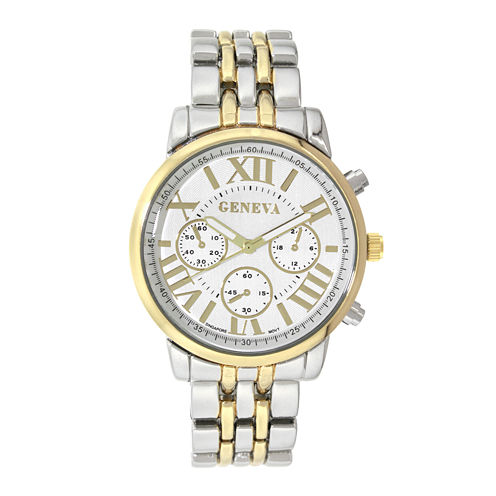 Geneva Womens Two-Tone Link Bracelet Watch