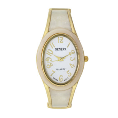 jcpenney.com | Geneva Womens Cream And Gold-Tone Oval Bangle Watch