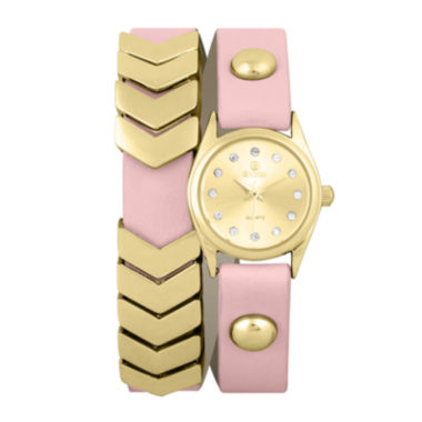 jcpenney.com | Decree® Girls Pink Gold-Tone Chevron Wrap Watch