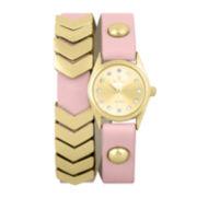 Decree® Girls Pink Gold-Tone Chevron Wrap Watch
