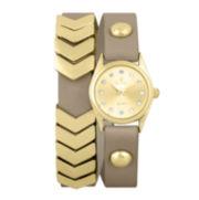 Decree® Girls Tan Gold-Tone Chevron Wrap Watch