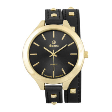 jcpenney.com | Decree® Girls Black Gold-Tone Stud Strap Watch