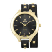 Decree® Girls Black Gold-Tone Stud Strap Watch