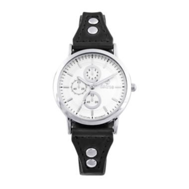 jcpenney.com | Decree® Girls Black Silver-Tone Vintage Stud Strap Watch
