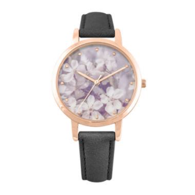 jcpenney.com | Decree® Girls Black Rose Gold-Tone Floral Dial Strap Watch
