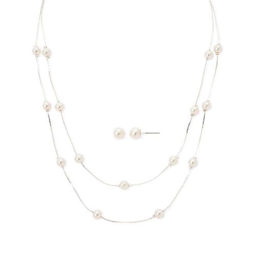 Vieste® Simulated Pearl Silver-Tone Illusion Necklace and Earring Set