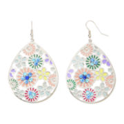Decree® Stamped Floral Teardrop Earrings
