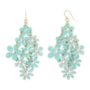 Decree® Blue Stone Gold-Tone Flower Chandelier Earrings