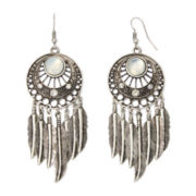 Arizona Silver-Tone Open-Disc Feather Drop Earrings