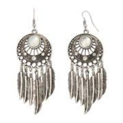 Arizona Silver-Tone Open-Disc Feather Drop Earrings