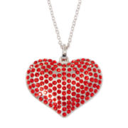 Red Stone Silver-Tone Heart Pendant Necklace