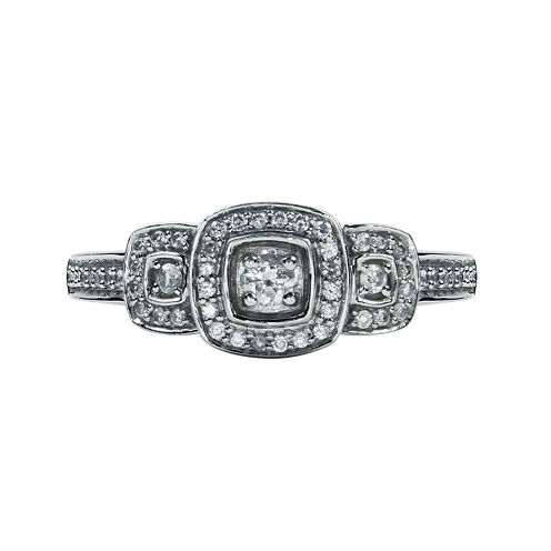 LIMITED QUANTITIES 1/4 CT. T.W. Three Stone Diamond 10K White Gold Ring
