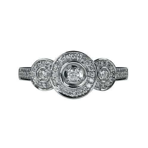 LIMITED QUANTITIES 1/4 CT. T.W. Three Stone Diamond 10K White Gold Ring