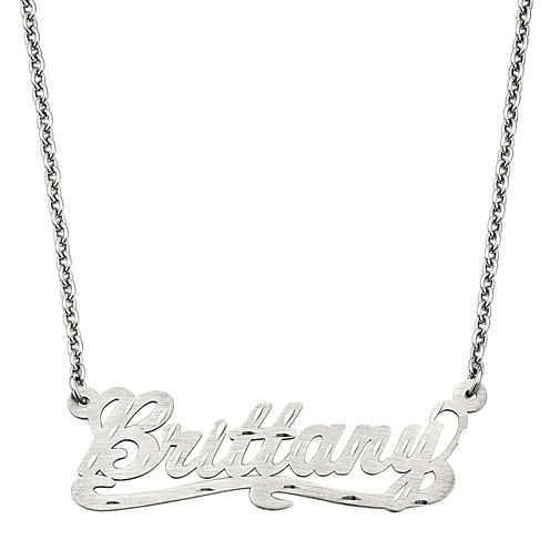 Personalized 15x44mm Diamond-Cut Scroll Name Necklace