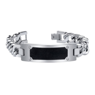 jcpenney.com | Mens Cubic Zirconia Stainless Steel ID Bracelet with Black Accent