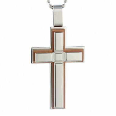 jcpenney.com | Mens Stainless Steel and Brown IP Cross Pendant Necklace