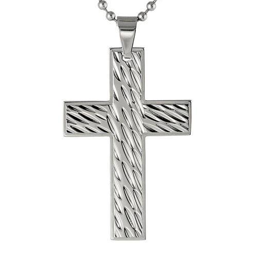 Mens Stainless Steel Textured Cross Pendant Necklace