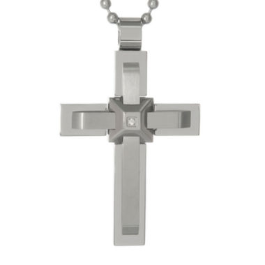 jcpenney.com | Mens Cubic Zirconia Stainless Steel Triple Layer Cross Pendant Necklace