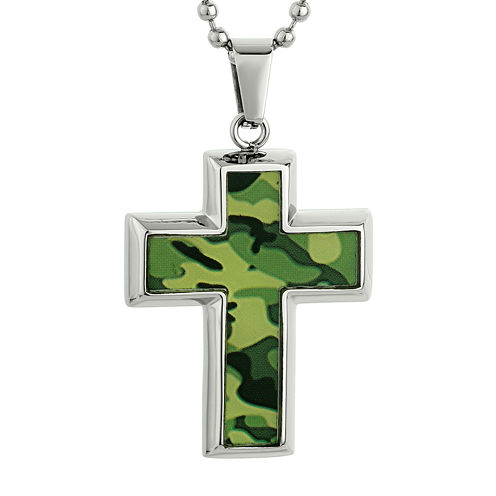 Mens Stainless Steel and Green Camouflage Cross Pendant Necklace