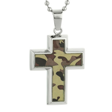 jcpenney.com | Mens Stainless Steel and Camouflage Cross Pendant Necklace