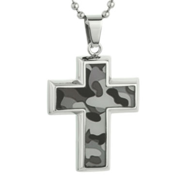 jcpenney.com | Mens Stainless Steel and Gray Camouflage Cross Pendant Necklace