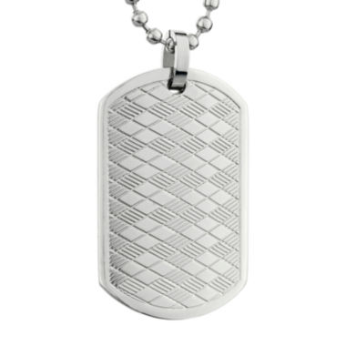 jcpenney.com | Mens Stainless Steel Argyle Texture Dog Tag Pendant Necklace