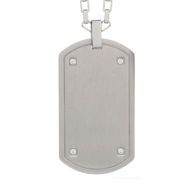jcpenney.com | Mens Cubic Zirconia Stainless Steel Dog Tag Pendant Necklace