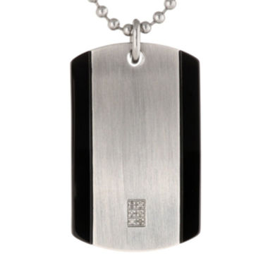 jcpenney.com | Mens Diamond Accent Stainless Steel Dog Tag Pendant Necklace