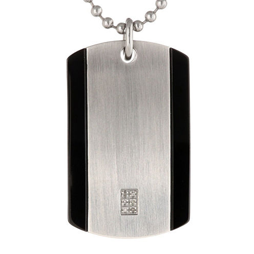 Mens Diamond Accent Stainless Steel Dog Tag Pendant Necklace