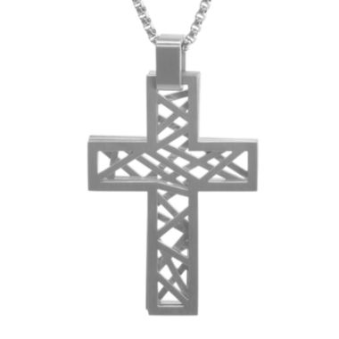 jcpenney.com | Mens Stainless Steel 3-PC. Cutout Cross Pendant Necklace