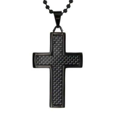 jcpenney.com | Black Stainless Steel Cross Pendant Necklace with Carbon Fiber Inlay