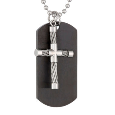 jcpenney.com | Mens Stainless Steel and Black IP Dog Tag and Moveable Cross Pendant