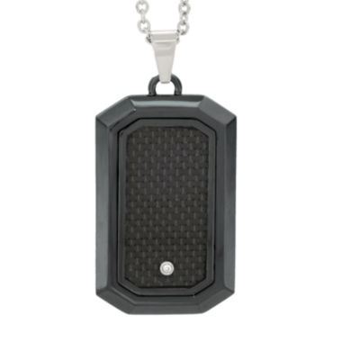 jcpenney.com | Mens Diamond Accent Black Stainless Steel Dog Tag Pendant Necklace