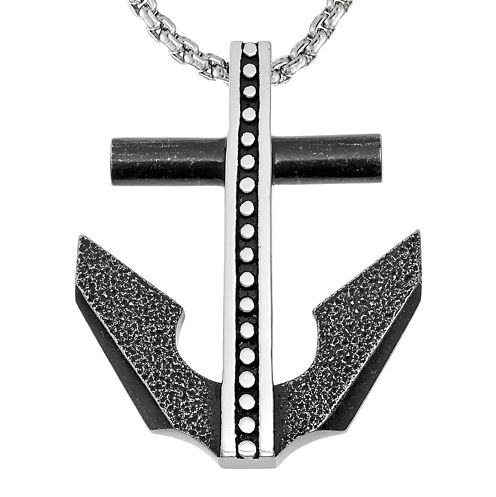 Mens Black IP Stainless Steel Anchor Pendant Necklace