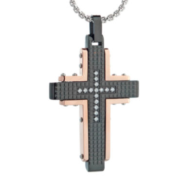 jcpenney.com | Mens Cubic Zirconia Black Stainless Steel and Rose IP Textured Cross Pendant Necklace