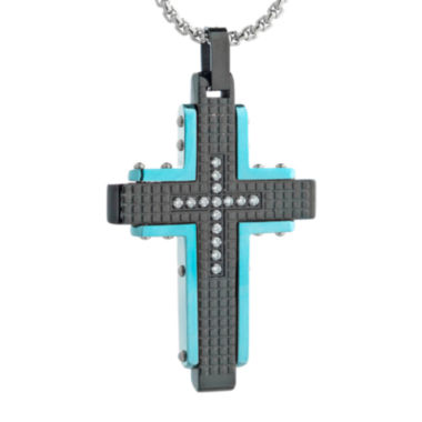 jcpenney.com | Mens Cubic Zirconia Black Stainless Steel and Blue IP Textured Cross Pendant Necklace