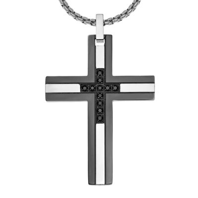 Mens 16 ct tw diamond black stainless steel cross pendant tw diamond black stainless steel cross pendant necklace aloadofball Choice Image