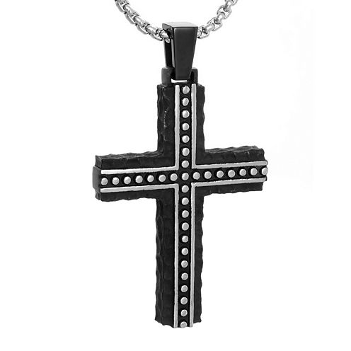 Mens Black Stainless Steel Cross Pendant Necklace