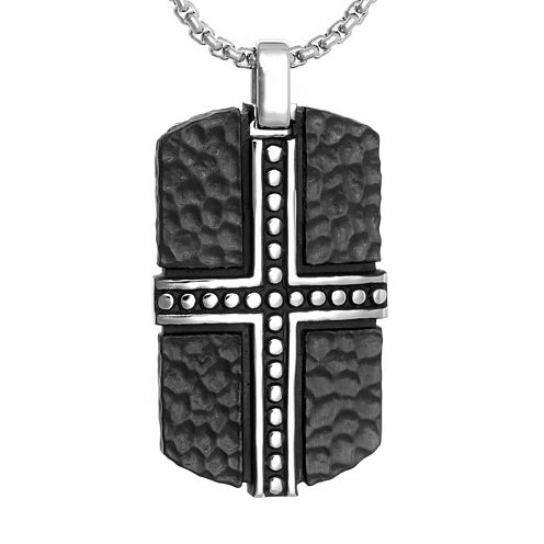 Mens Black Stainless Steel Dog Tag Pendant Necklace