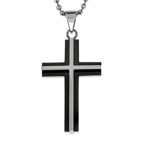 Mens Two-Tone Stainless Steel Cross Pendant Necklace