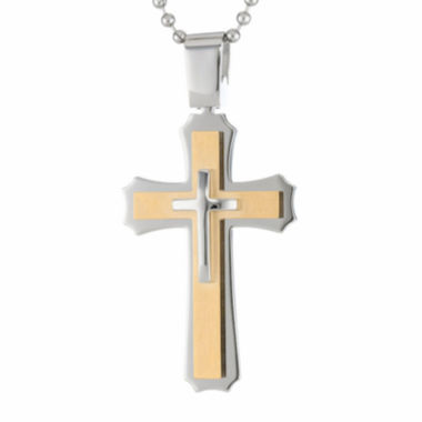 jcpenney.com | Mens Two-Tone Stainless Steel Triple Layer Cross Pendant Necklace