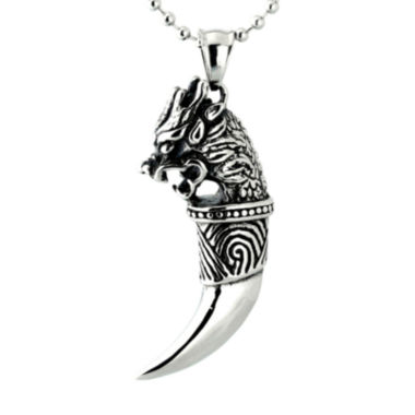jcpenney.com | Mens Black IP Stainless Steel Dragon Tooth Pendant Necklace