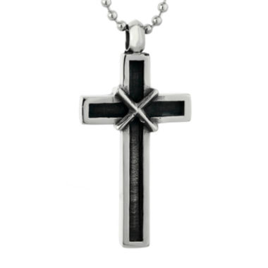 jcpenney.com | Mens Two-tone Stainless Steel Cross Pendant Necklace with Antique Finish Plating