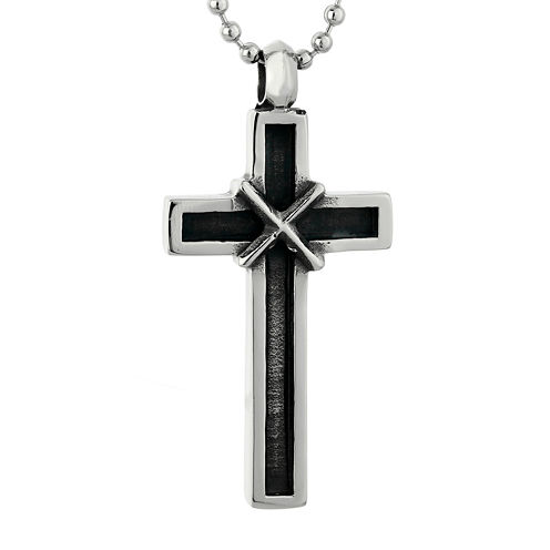 Mens Two-tone Stainless Steel Cross Pendant Necklace with Antique Finish Plating