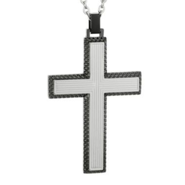 jcpenney.com | Mens Grey IP Stainless Steel Cross Pendant Necklace